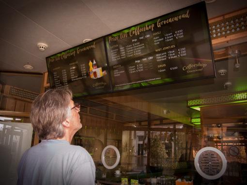 Interactieve menuborden voor Coffeeshop Groenewoud in Leiden.