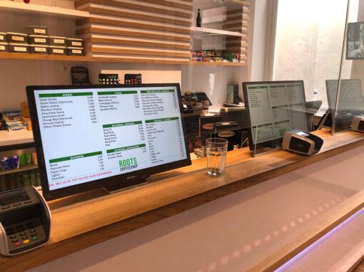 Digitale menuborden en Signage voor Coffeeshop Roots Amersfoort